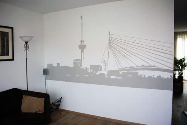 Rotterdam skyline silhouet schildering