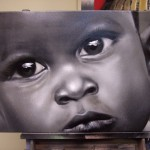 Photo-realistic black and white portrait