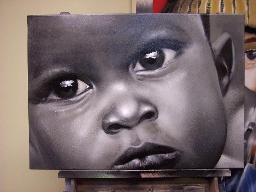 逼真的黑白肖像