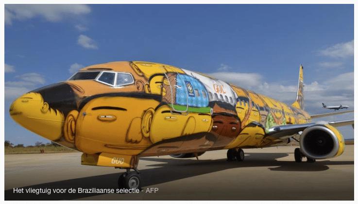 Graffiti op vliegtuig Brazilië