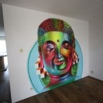 Fluor budha wall painting