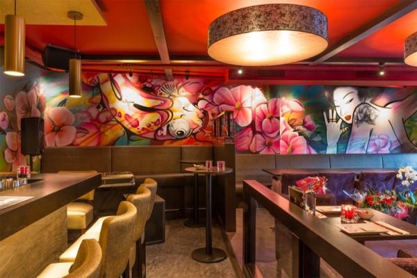 Väggmålning orientalisk restaurang Japas
