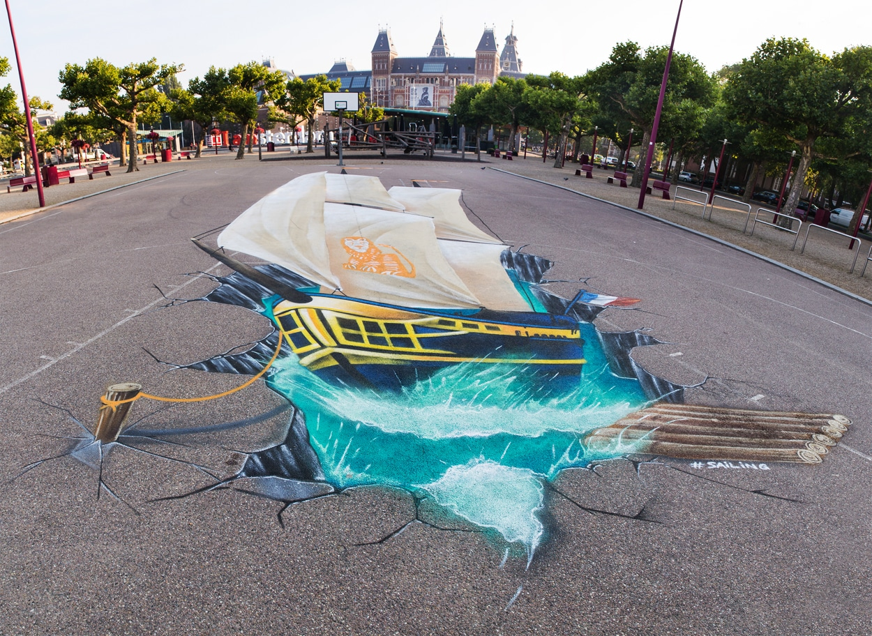 3d streetpainting sejlads