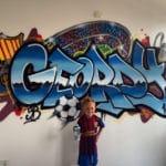 Graffiti naam met voetbal thema