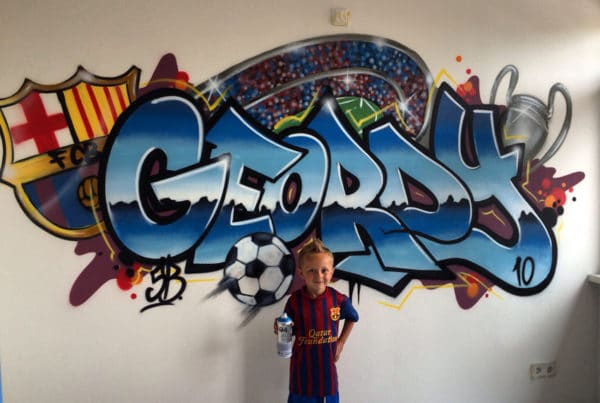 Graffiti name with football theme