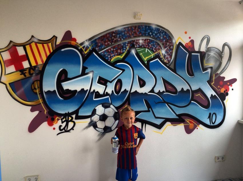 Graffiti navn med fodbold tema