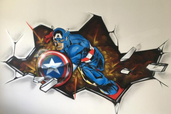 Captain America kinderkamer graffiti