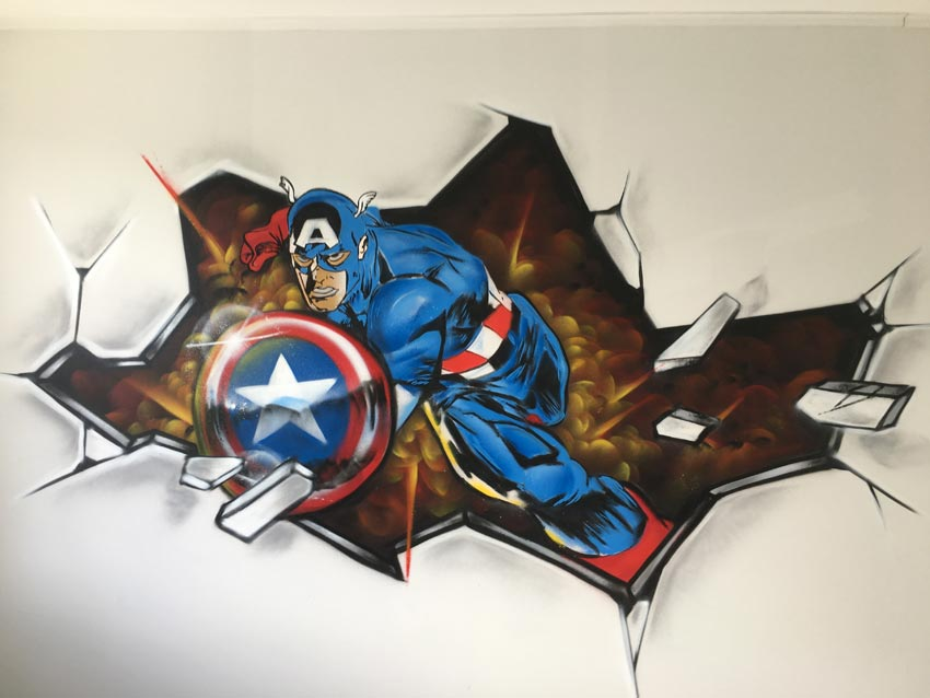 Captain America children's room graffiti