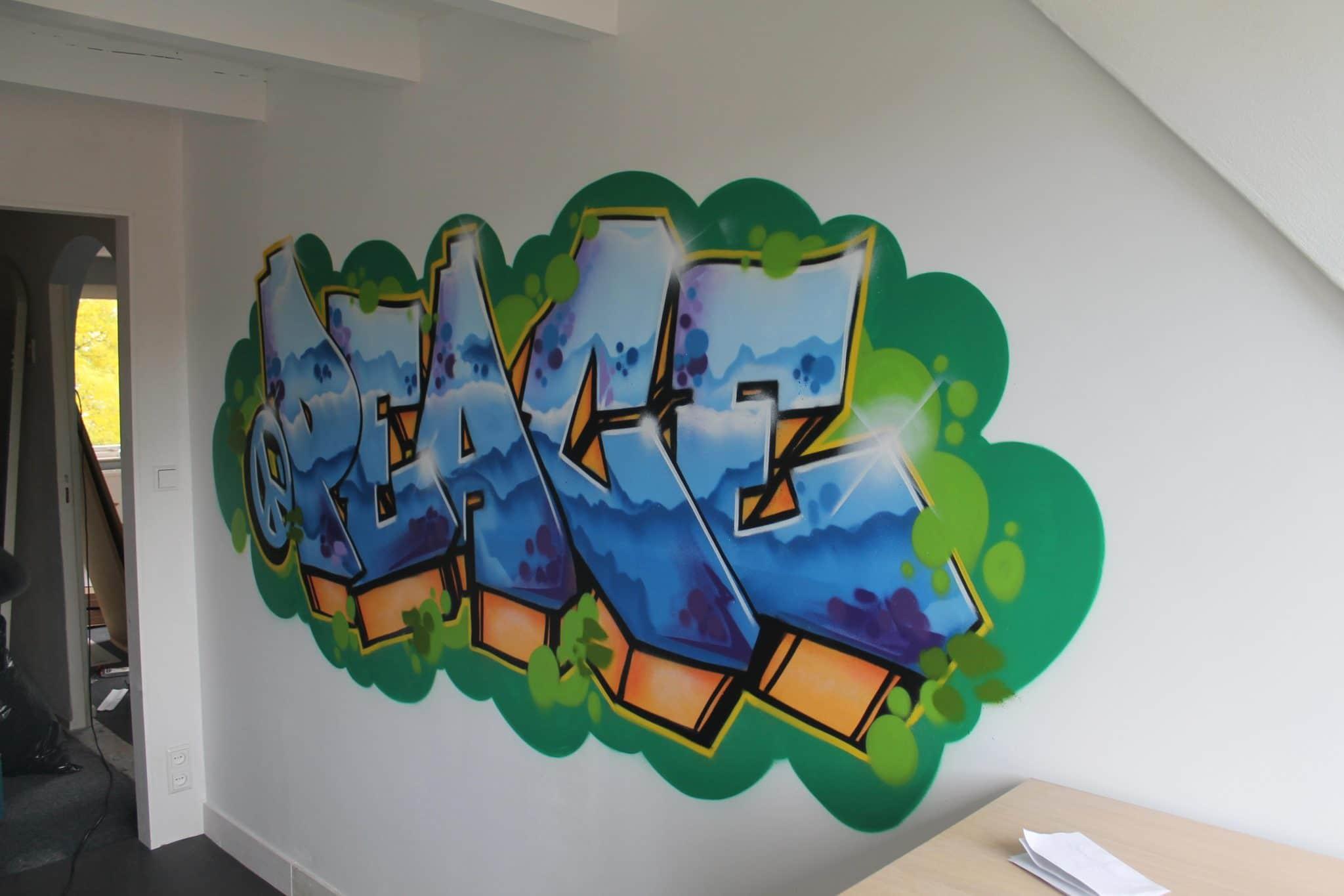 Peace muurschildering