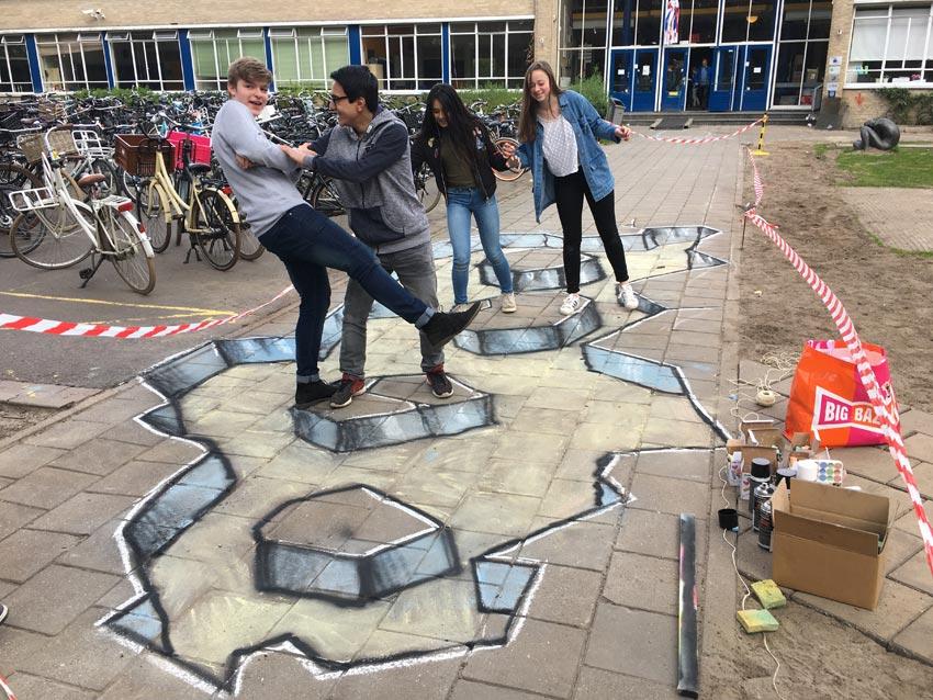 3d streetpainting workshop Revius Lyceum