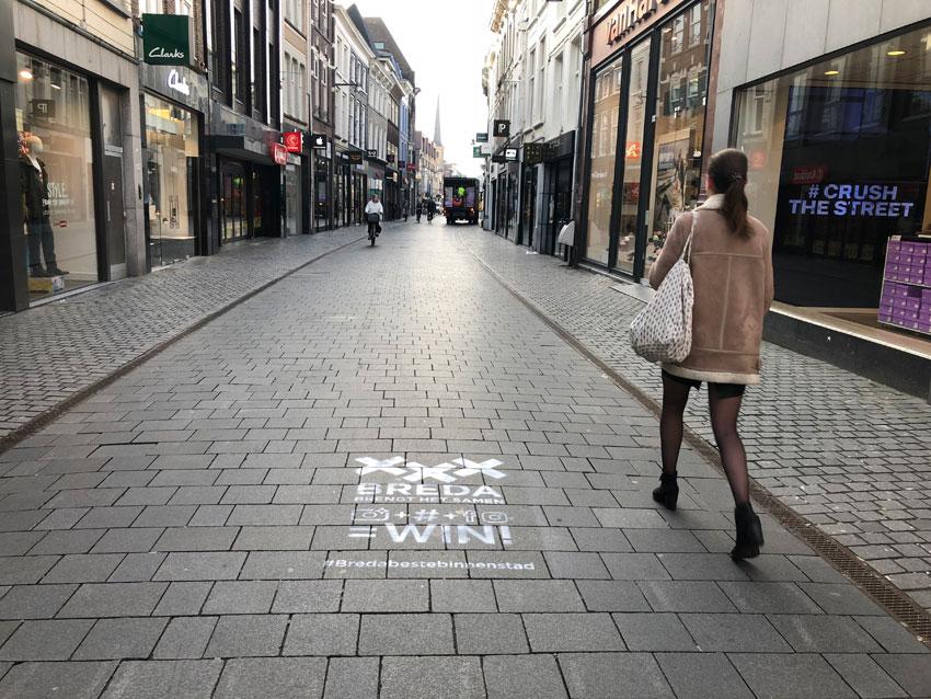Tijdelijke krijt-stempels Breda