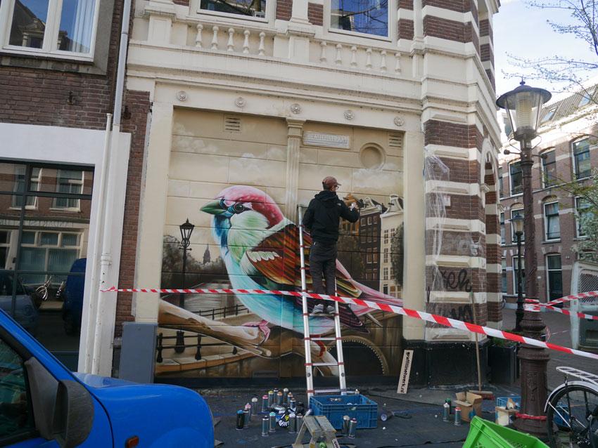 Street-art schildering Amsterdam