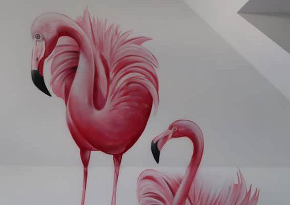 Flamingo schildering
