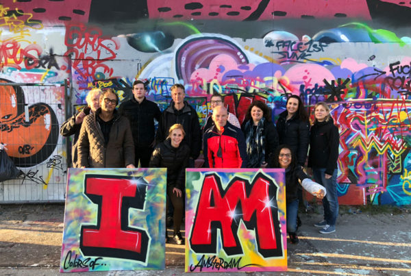 A graffiti workshop as a company outing Amsterdam.