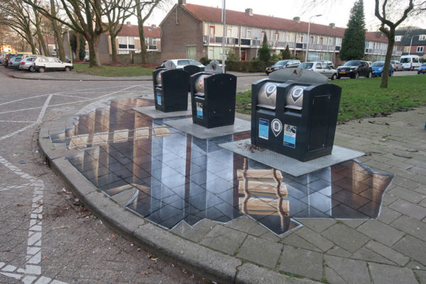 A 3d street painting around waste containers