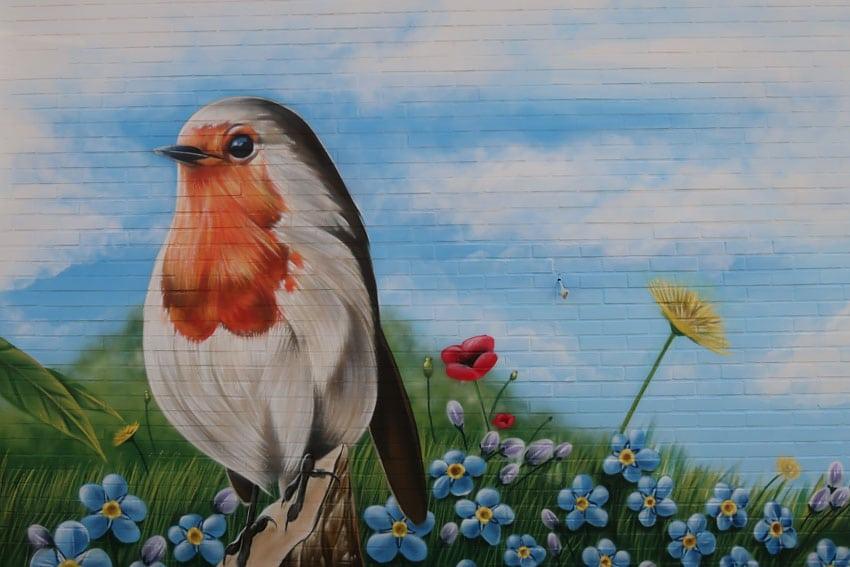 Tuinmuur schildering