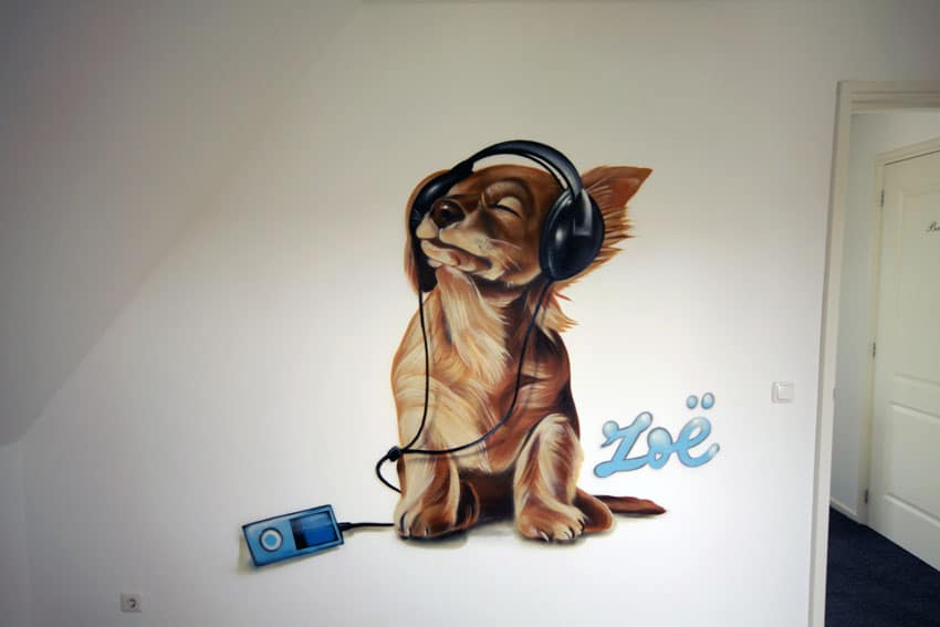 Painting of dog with headphones