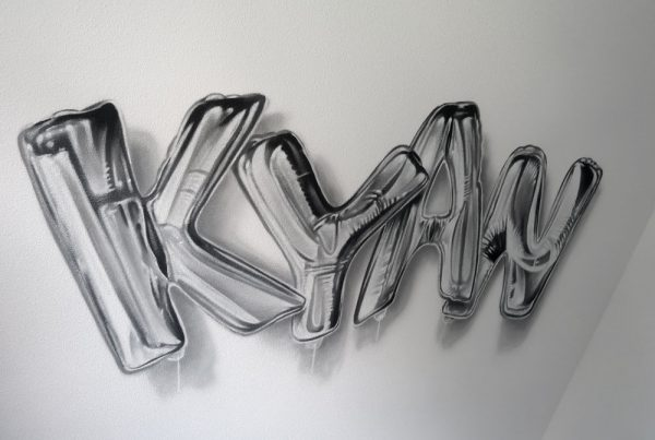 Graffiti name as balloons