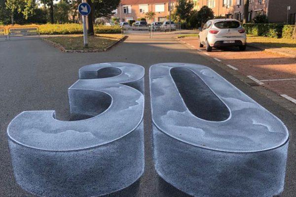 Campanha de conscientização de pintura de rua 3D