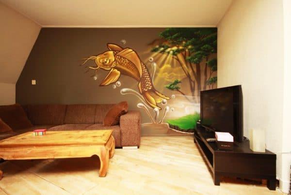 Wandmalerei Koi Karpfen