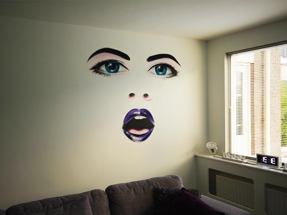 Realistic face in street art