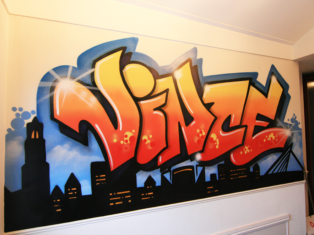 Graffiti Skyline und Name