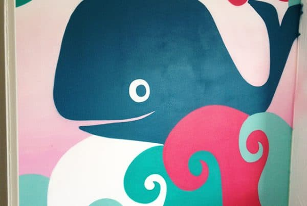 Whales wall painting
