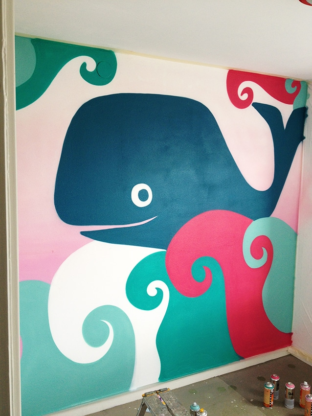 Peinture murale baleines