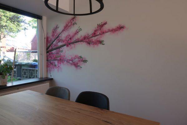 Väggmålning Prunus träd