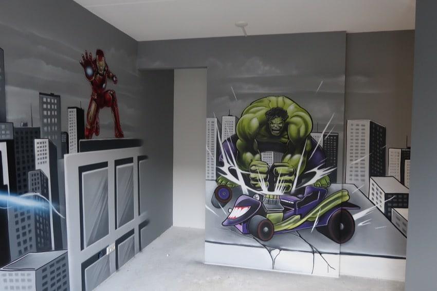 Superhero graffiti room
