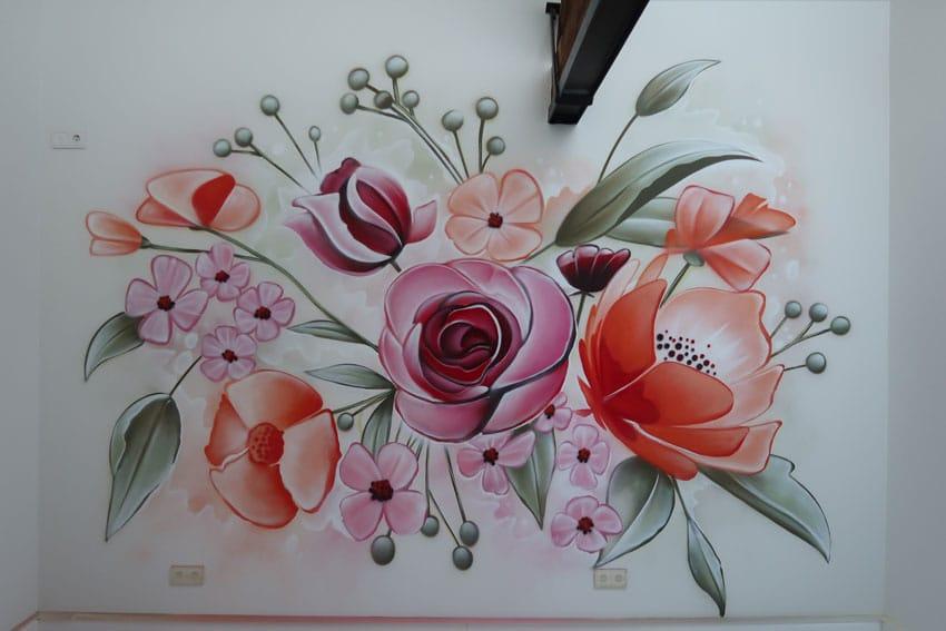 Peinture murale florale