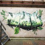 See-through mural in the garden